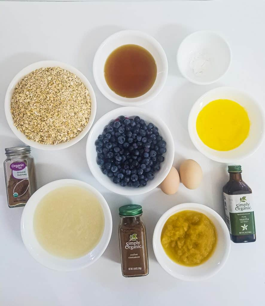 Ingredients for healthy blueberry oatmeal bake
