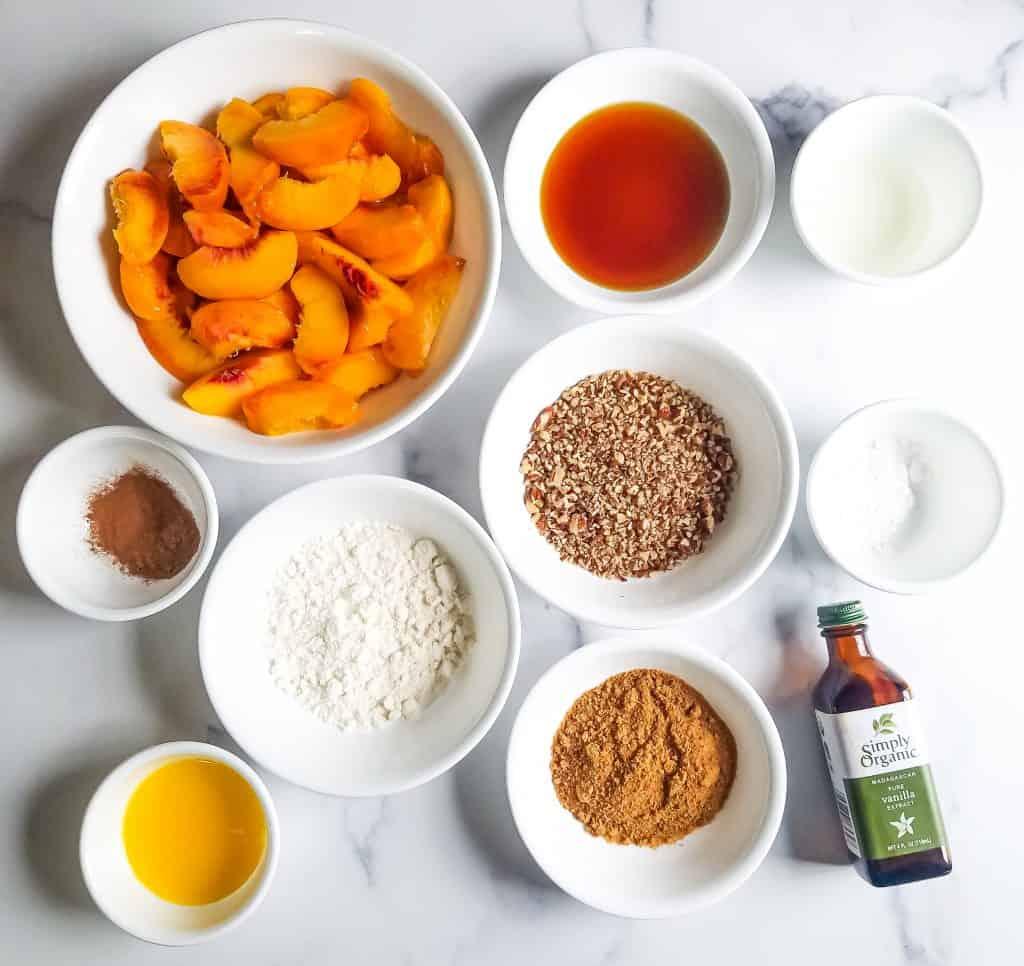 Ingredients for paleo skillet peach crisp