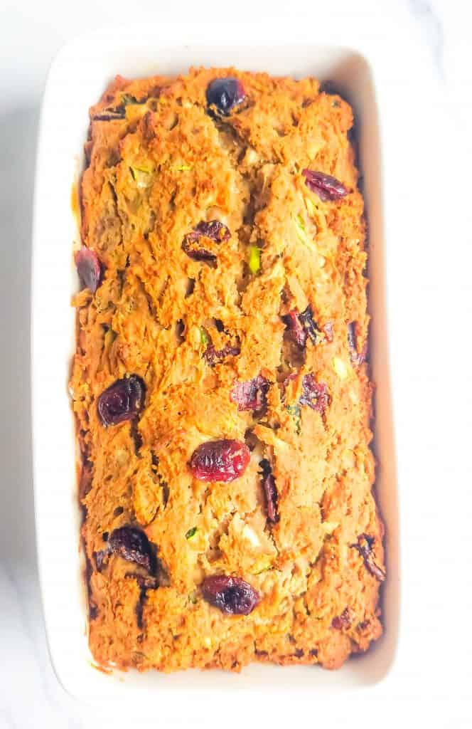 Baked in a loaf pan gluten free zucchini cranberry bread