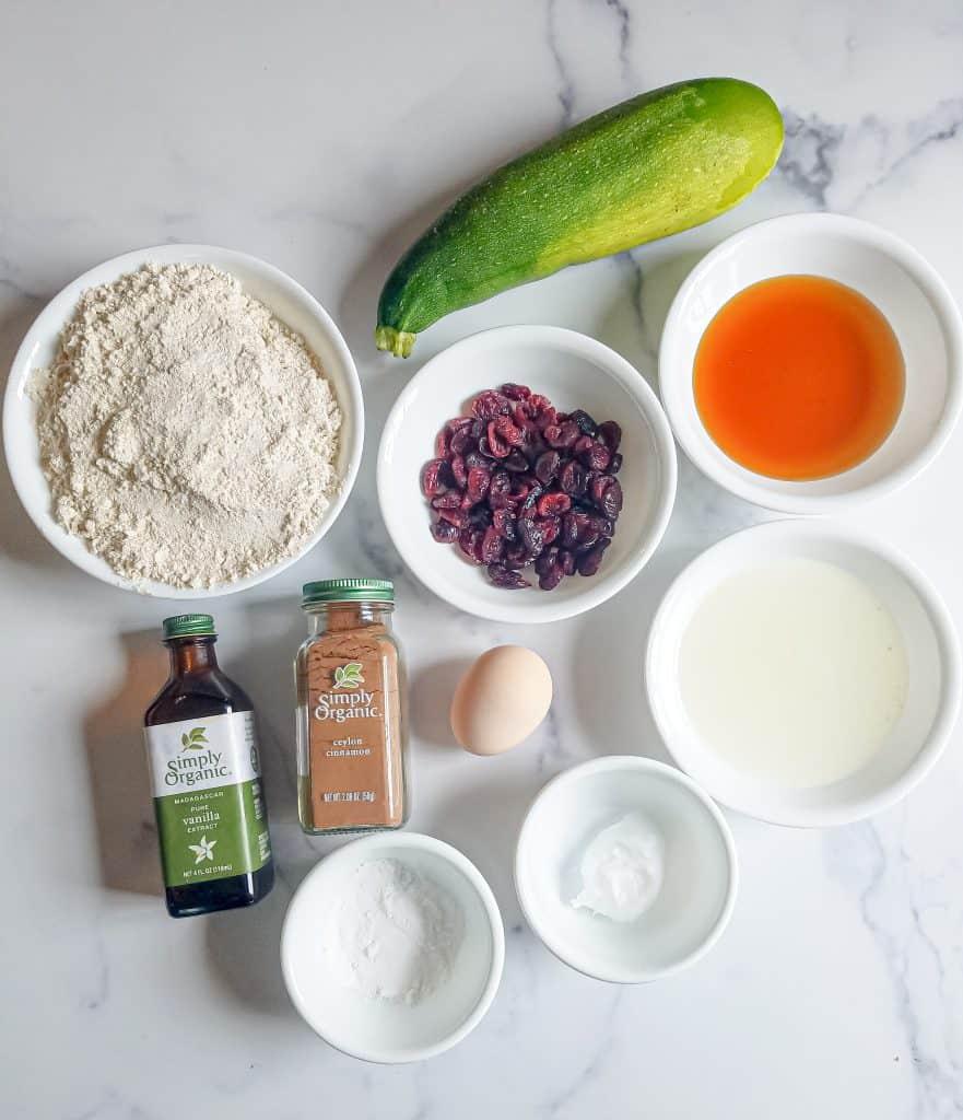Healthy gluten free zucchini cranberry bread ingredients shot